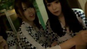 Over-permissive buxomy oriental teen slut Kyoko Maki fingering her pussy