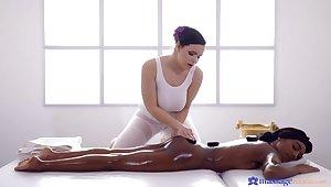 Czech masseuse treats black UK babe