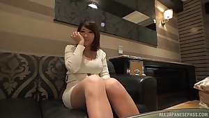 Clothed Japan MILF loads her fine cunt with the apt cock