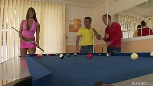 Pool game leads fine MILF to mad as a March hare DP sex