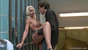 Big-Titted handcuffed blond screwed outdoor