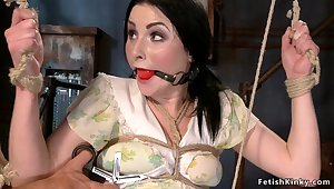 Tied and spreaded dark haired lady slave toyed