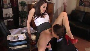 Busty secretary Chanel Preston gets boned approving