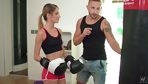 Super skinny Itallian stepsister Rebecca Volpetti is fucked hard by the manly art of self-defence stepbrother