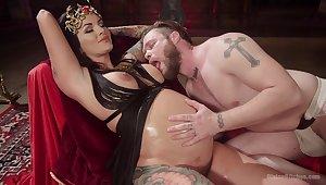 Prego slut plays dominant with her man in a weird scene