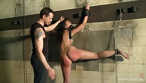 Submissive babe in arms endures pretty rough anal sex