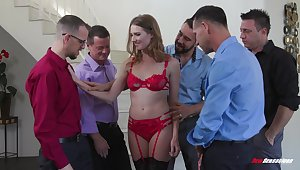 Slender bitch near red unmentionables Ashley Lane serves a prepare of horny guys