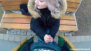 Picked around outdoors chick Eva Elfie gives a distance from a good blowjob