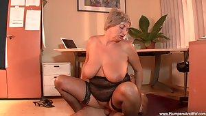 Cruel grey slut Eva F. puts on stockings to seduce a younger guy