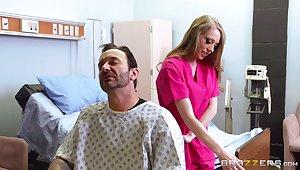 Chap-fallen blonde nurse Shawna Lenee with astounding fake tits fucked