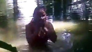 bangla unfocused rina bathing back pond