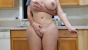 Scorching mother added to sonny in kitchen