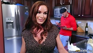Rough measure in the kitchen after mommy strips nude
