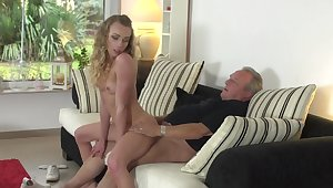 Horny wife Angel Emily spreads her toes to stand aghast at fucked by an older guy